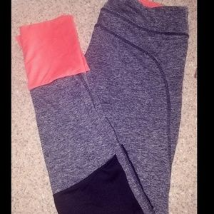 Pants - Pink and Grey Leggings with Netted Bottoms